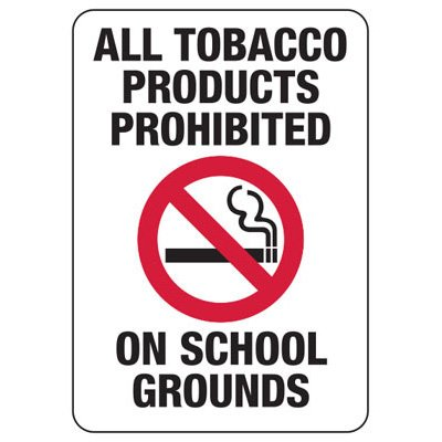 All Tobacco Products Prohibited - Industrial Smoking Sign