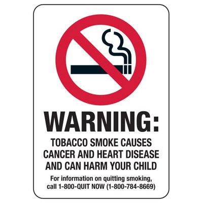 State Smoke-Free Law Signs - MD Warning Tobacco Smoke