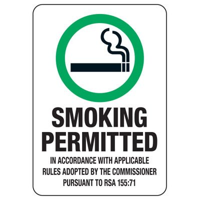 State Smoke-Free Law Signs - NH Smoking Permitted RSA 155:71