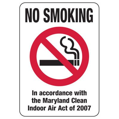 Maryland Smoke-Free Signs- No Smoking