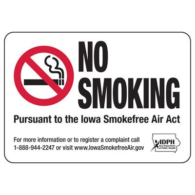 Iowa Smoke-Free Signs- No Smoking