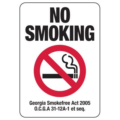 No Smoking - Georgia No Smoking Sign