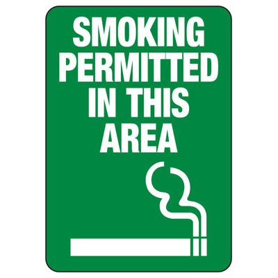 Smoking Permitted In This Area - Minnesota No Smoking Sign