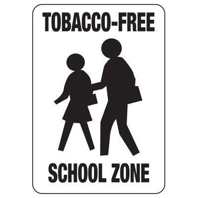 Tobacco-Free School Zone -  No Smoking Sign