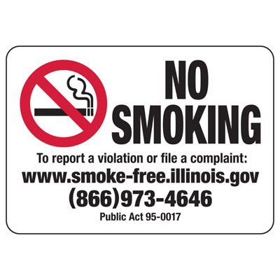 No Smoking - Illinois No Smoking Sign
