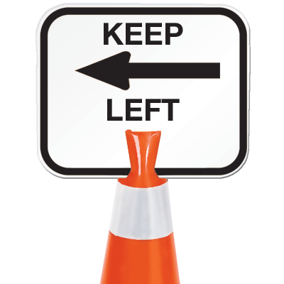 Arrow Sign Snap-On Cone Sign - Keep Left KEPL
