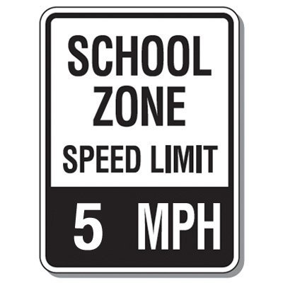 Speed Limit Signs - School Zone Speed Limit 5 Mph