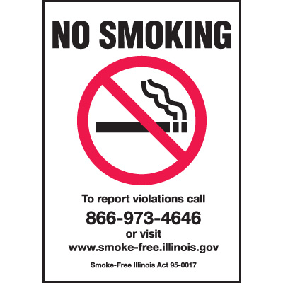 Illinois No Smoking Signs - Pack of 5 Labels