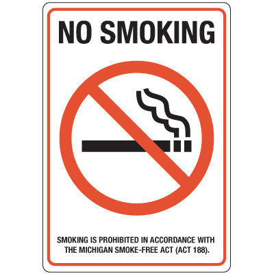 Michigan Smoke-Free Signs - No Smoking