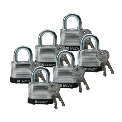 Brady Keyed Different Three Quarter inch Shackle Steel Locks - Black - Part Number - 51284 - 6/Pack