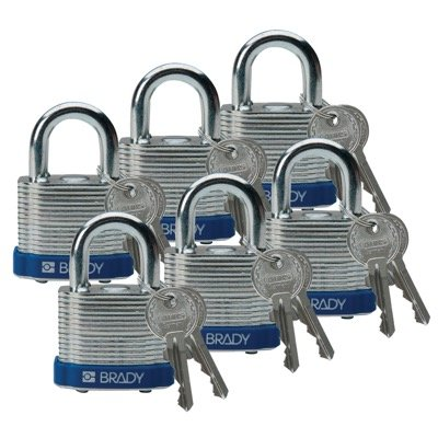 Brady Keyed Different Three Quarter inch Shackle Steel Locks - Blue - Part Number - 51280 - 6/Pack