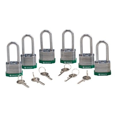Brady Keyed Different 2 inch Shackle Steel Locks - Green - Part Number - 51292 - 6/Pack