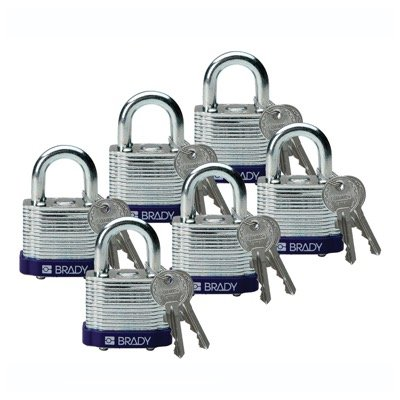 Brady Keyed Different Three Quarter inch Shackle Steel Locks - Purple - Part Number - 104917 - 6/Pack