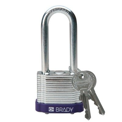 Brady Keyed Different 2 inch Shackle Steel Locks - Purple - Part Number - 104921 - 1/Each
