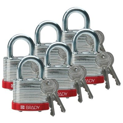 Brady Keyed Different Three Quarter inch Shackle Steel Locks - Red - Part Number - 51279 - 6/Pack