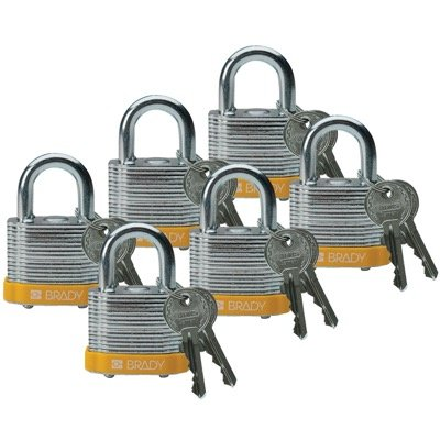 Brady Keyed Different Three Quarter inch Shackle Steel Locks - Yellow - Part Number - 51282 - 6/Pack