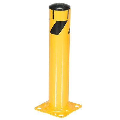 Steel Pipe Bollard With Chain Slots & Removable Rubber Cap