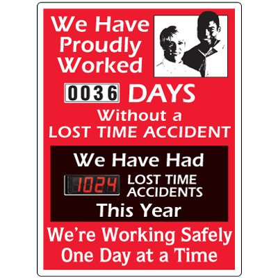 Stock Scoreboards - Working Safely One Day At A Time