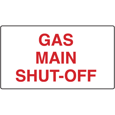 Gas Main Shut-Off Signs