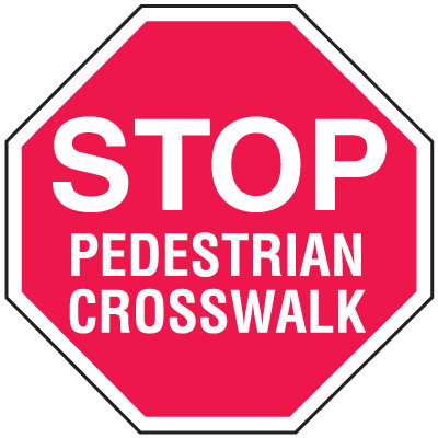 Stop Pedestrian Corsswalk In Plant Traffic Stop Signs