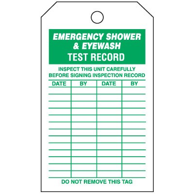 Inspection Tags-On-A-Roll - Emergency Shower & Eyewash Test Record