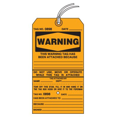 Tear-Off Jumbo Warning Tags