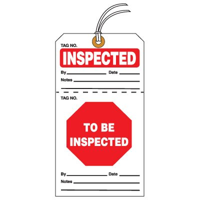 Tear-Off QC Action Tags - Inspected