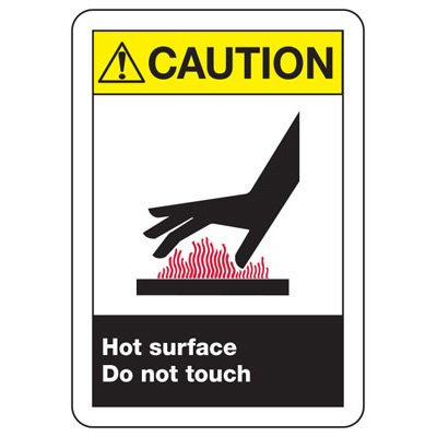 Temperature Warning Signs - Caution Hot Surface Do Not Touch (with Graphic)