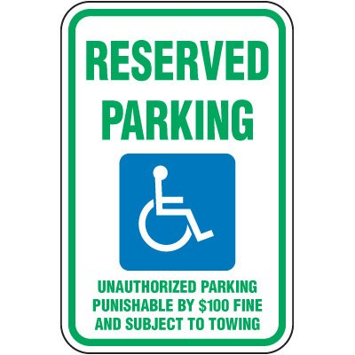 Tennessee State Handicap Signs - Reserved Parking