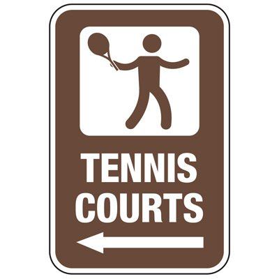 Tennis Courts (Left Arrow) - Athletic Facilities Signs