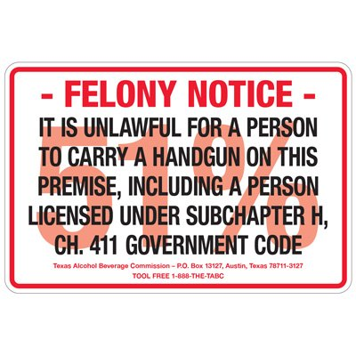 Texas Gun Signs - Felony Notice 51% Unlawful Handgun