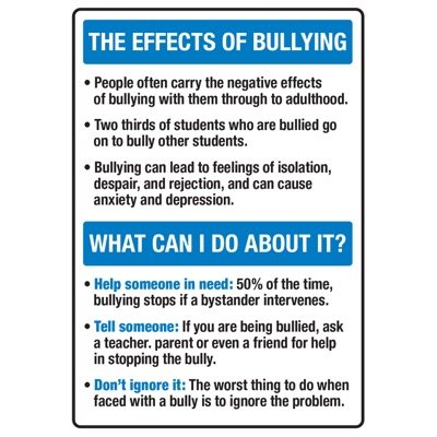 The Effects Of Bullying - No Bullying Signs