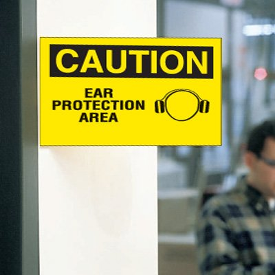 3-Way View Safety Signs - Caution - Ear Protection Area