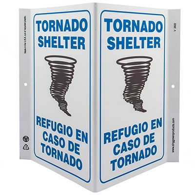 Tornado Shelter Bilingual V-Style Sign
