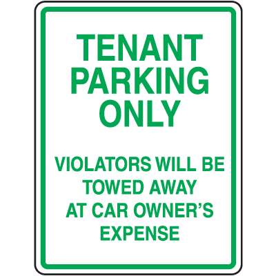 Tow Away Parking Signs - Tenant Parking Only