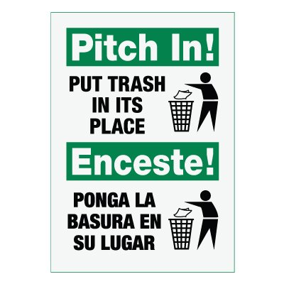 Facility Reminder Signs - Pitch In! Put Trash In Its Place
