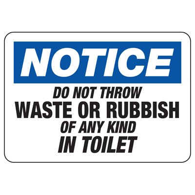 No Rubbish in Toilet Sign