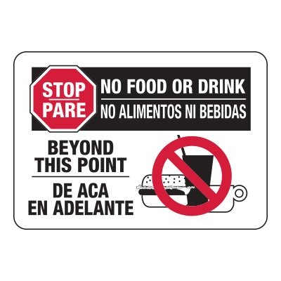 Bilingual No Food Or Drink Sign