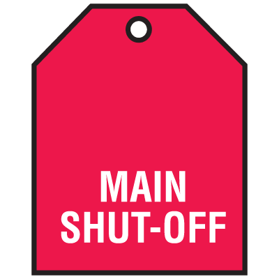 Main Shut-Off Vinyl Valve Indicator Tag