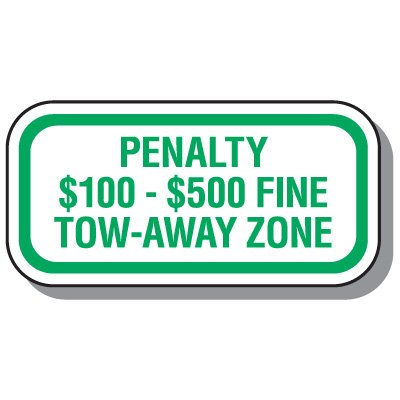 Virginia State Handicap Signs - Penalty $100 - $500