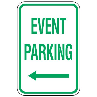Visitor Parking Signs - Event Parking (Left Arrow)