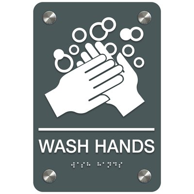 Wash Hands - Premium ADA Facility Signs