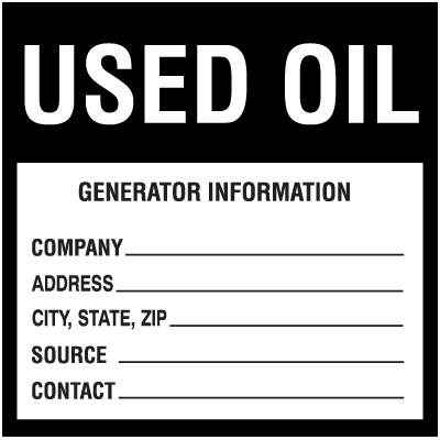 Waste Sort Labels - Used Oil