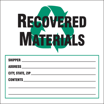 Waste Sort Labels - Recovered Materials