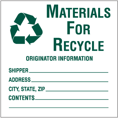 Waste Sort Labels - Materials For Recycle