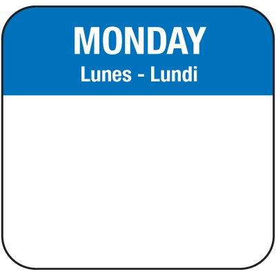Water-Soluble Labels - Monday/Lunes-Lundi