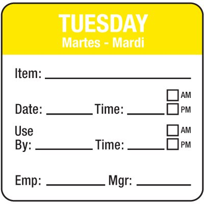 Water-Soluble Labels - Tuesday/Martes-Mardi