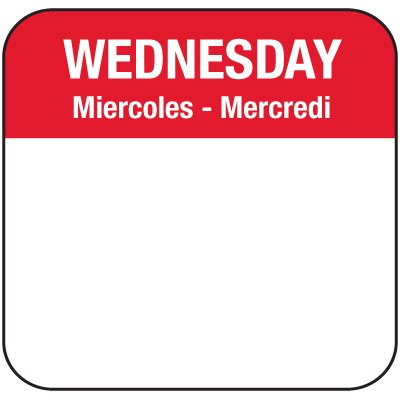 Water-Soluble Labels - Wednesday/Miercoles-Mercredi