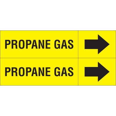 Weather-Code™ Self-Adhesive Outdoor Pipe Markers - Propane Gas