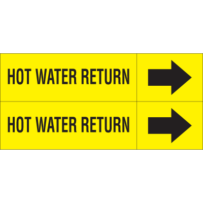 Weather-Code™ Self-Adhesive Outdoor Pipe Markers - Hot Water Return